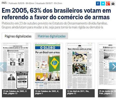 Senadores pró-criminosos atropelam decisão do povo: Em 2005, 63% dos brasileiros votam a favor do comércio de armas