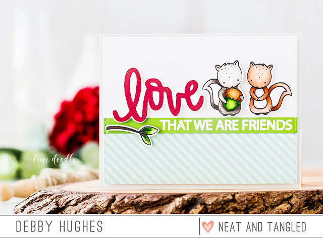 Love That We Are Friends Card by Debby Hughes. Find out more by clicking on the following link: http://neatandtangled.blogspot.com/2017/01/love-that-we-are-friends-with-debby.html