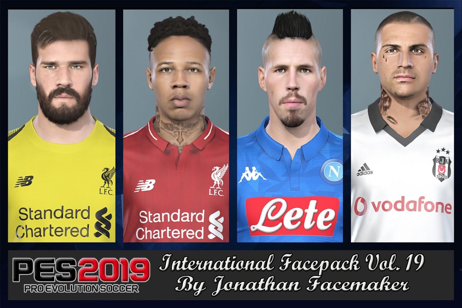 PES 2019 International Facepack Vol 19 by Jonathan Facemaker