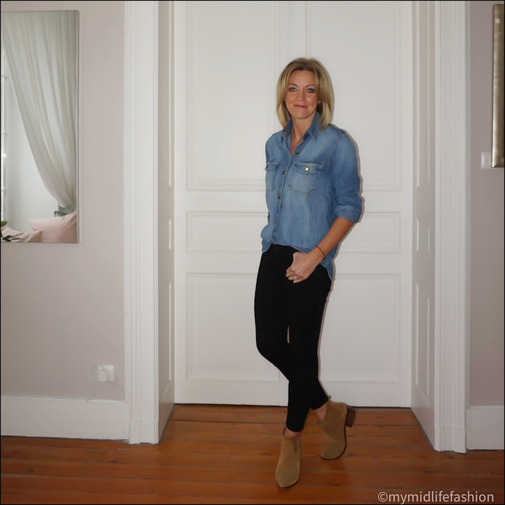 my  midlife fashion, zara western heel ankle boots, current Elliott military denim shirt, j crew 8 inch toothpick skinny jeans in true black