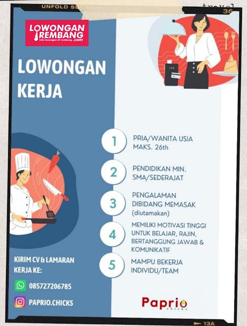 Lowongan Kerja Pegawai Paprio Kitchen Sumberjo Rembang