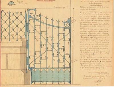 Plan, aquarelle d'un portail par Dulac, collection Pirou