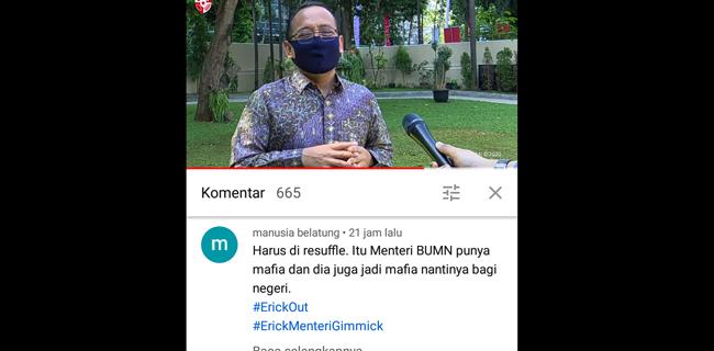 Youtube Sekretariat Presiden Diserbu Tagar #Erickout