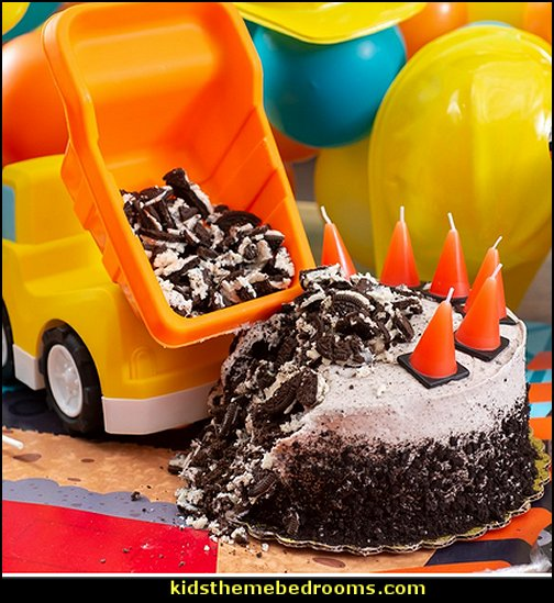 Under Construction Cone Molded Candles Construction party ideas - construction party decorations - digger construction party props - Dump Truck Party Decorations - crane construction theme party - work truck decorations - Digger Zone Boys Birthday Party -