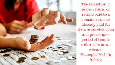 womans hands counting money as a rebate sales promotion example with the captions:The reduction in price, return, or refund paid to a consumer on an already paid for item or service upon an agreed upon period of time is referred to as an rebate.