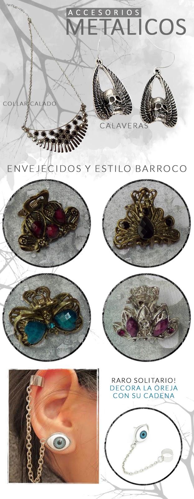Haul de accesorios metalicos, calaveras, raros y estilo barroco