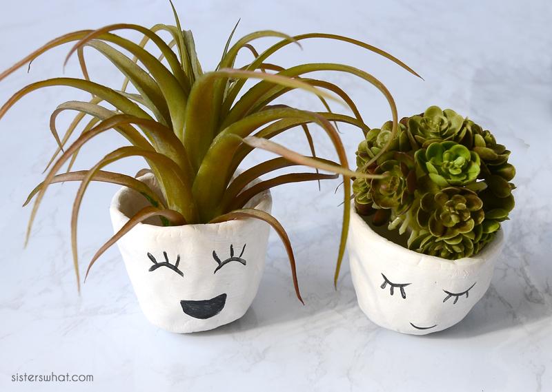 diy air dry clay face planters