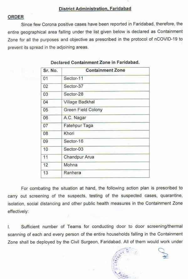 faridabad-areas-containment-zone