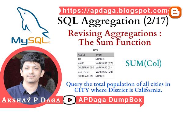 HackerRank: [SQL Aggregation - 2/17] Revising Aggregations - The Sum Function
