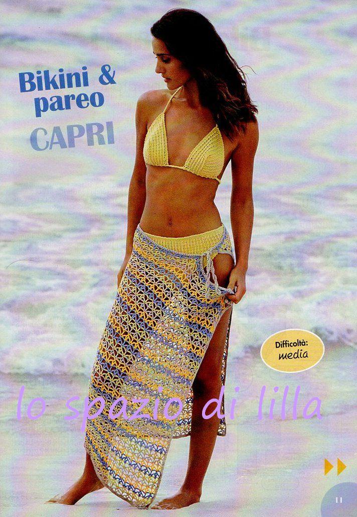 Lo Spazio Di Lilla Bikini Top Pareo Alluncinetto Crocheted
