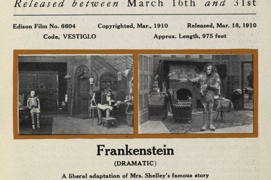 Frankenstein, The Edison Kinetogram 1910 clipping
