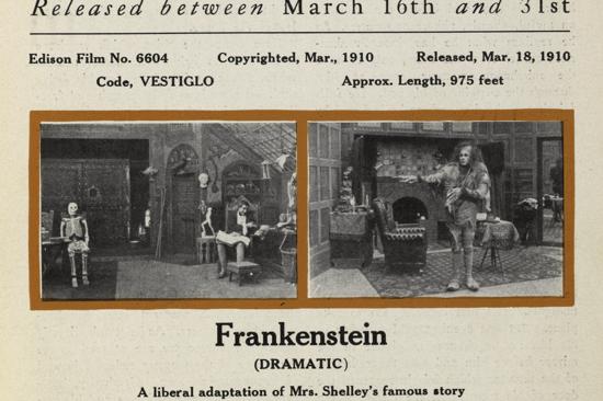 Frankenstein, The Edison Kinetogram 1910 clipping