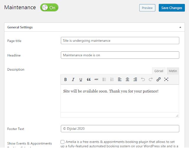 Wordpress maintenance widget settings