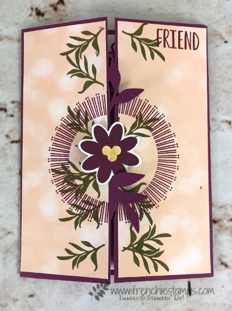 Bouquet Blooms, Gatefold Blossoms Framelits, Petal Promenade designer paper, Frenchie Stamps, Stampin'Up!,