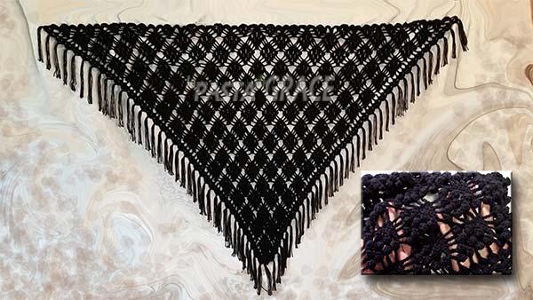 15d134c5c0653 فيديو مع الباترون شرح طريقة عمل شال مثلث بغرزة البندق نسائي بالخطوات ...