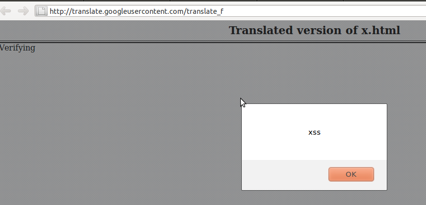 XSS vulnerability in 'Translate a document' option of Translate