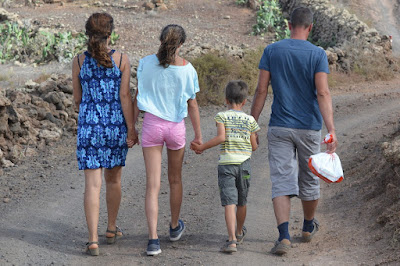 Healthy family walking