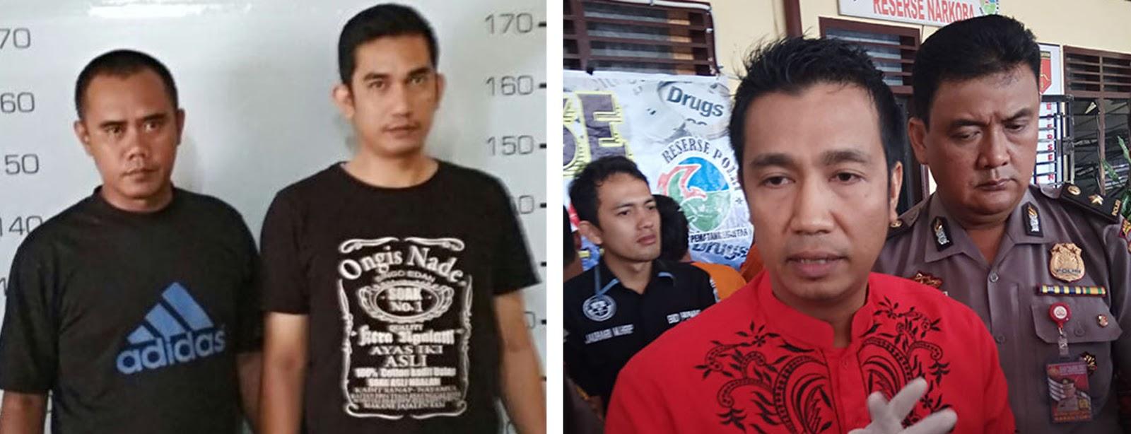Zulkifli Hutagalung dan adik Walikota Siantar Ardiansyah (kiri baju kaos hitam) dan Walikota Siantar Hefriansyah saat memberikan keterangan pers.