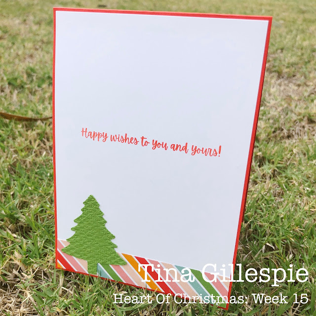 scissorspapercard, Stampin' Up!, Heart Of Christmas, Words Of Cheer, Pattern Party DSP, Pine Tree Punch, Tasteful textile 3DEF, Sheetload Of Cards, Christmas Card