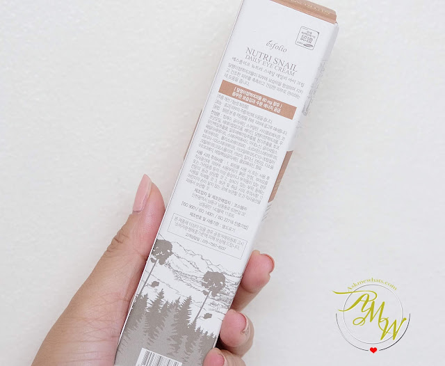 a photo of Esfolio ANti-Wrinkle Nutri SNAIL Daily Eye Cream Review by Nikki Tiu of www.askmewhats.com