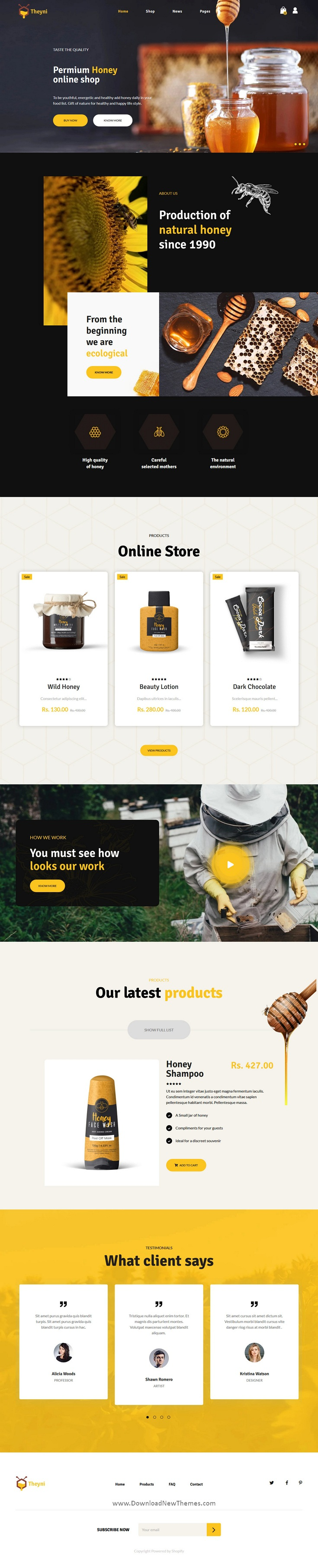 Organic Food, Honey Shop Shopify Theme