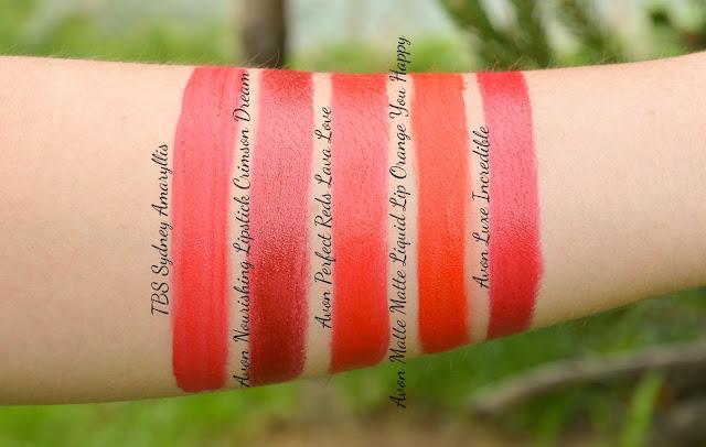 Avon True Color Perfect Reds Lipstick in Lava Love Swatch Comparison