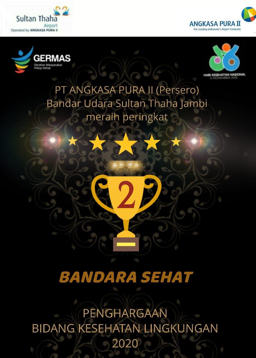 Bandara Sultan Thaha Jambi raih peringkat ke 2 kategori Bandara Sehat pada penghargaan bidang kesehatan lingkungan