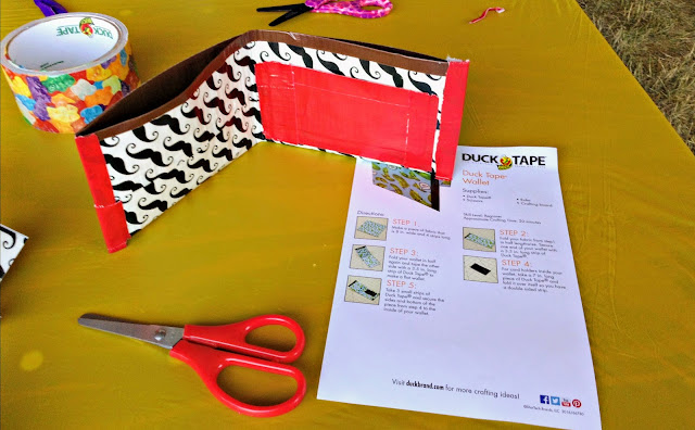 Making a duck tape wallet at the Avon Duck Tape Festival