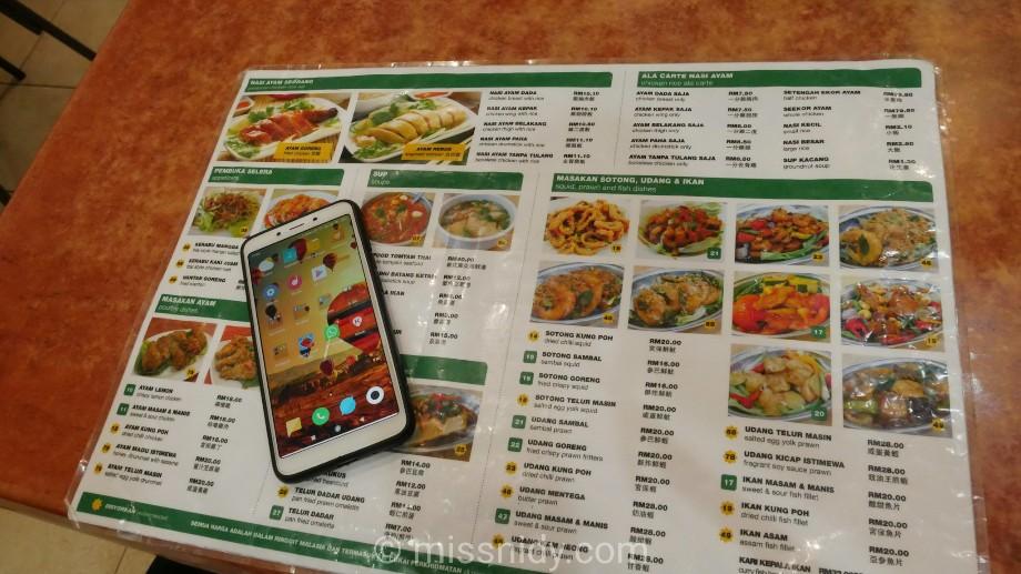 menu harga nasi ayam hinan chee meng kuala lumpur