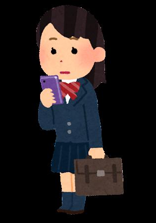 立ってスマホを使う人のイラスト(女子学生・無表情)