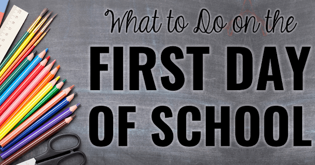 "Photo of school supplies on chalkboard background with text, ""What to Do on the First Day of School."""