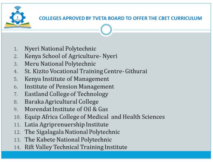 Technical Training Institutes in Kenya by TVETA
