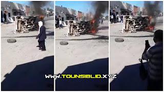 (بالفيديو) سبيطلة.. فوضي عارمة و غلق الطرقات و اقتحام بعض الإدارات  و حرق شاحنة تابعة للبلدية... بعد حالة وفاة مواطن ليلة البارحة