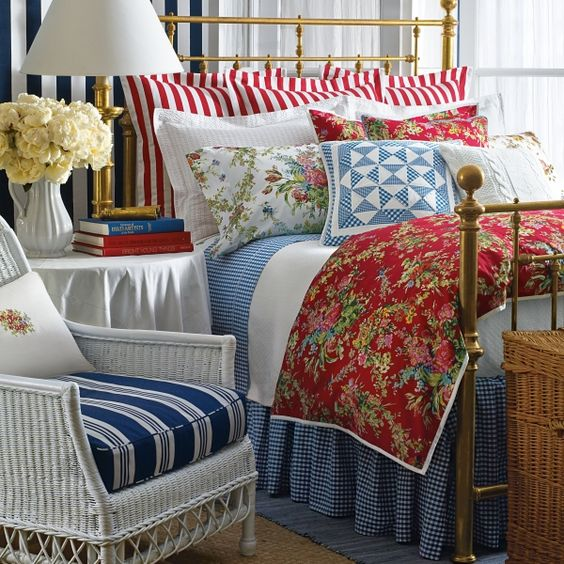 Cottage Bedrooms: Hydrangea Hill Cottage: Red, White And Blue Cottage Bedrooms