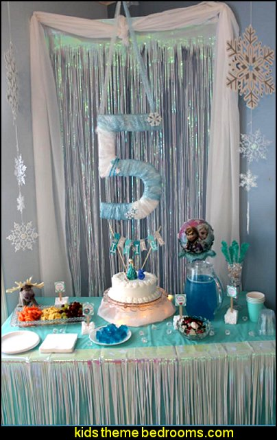 Iridescent Metallic Curtains frozen theme party decorations winter theme decorating ideas