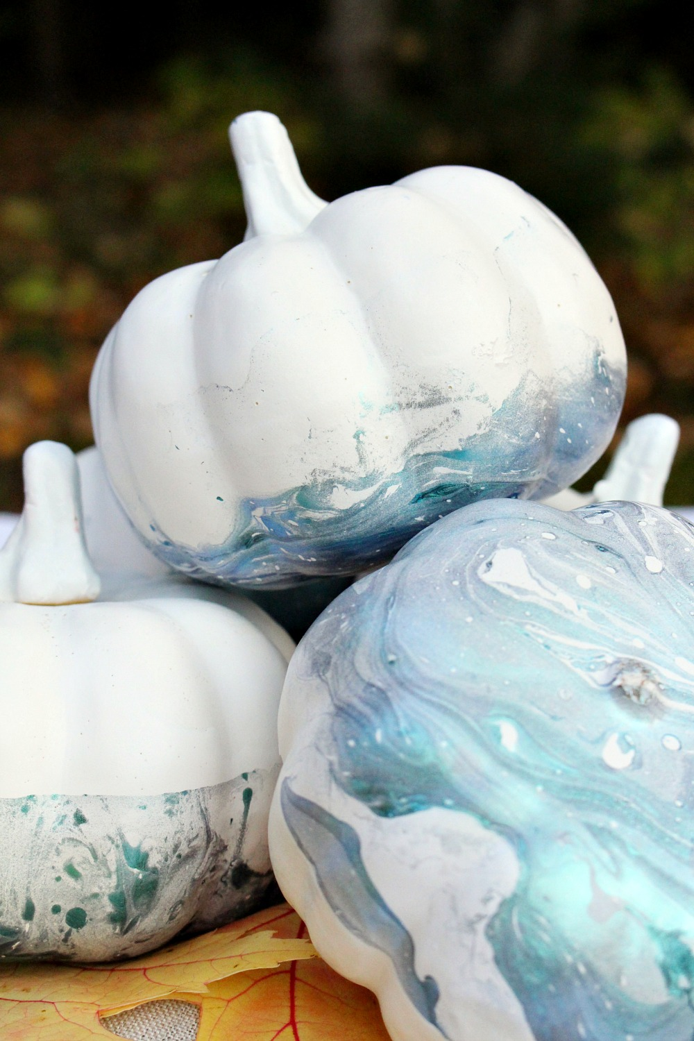 DIY Blue Marble Pumpkins