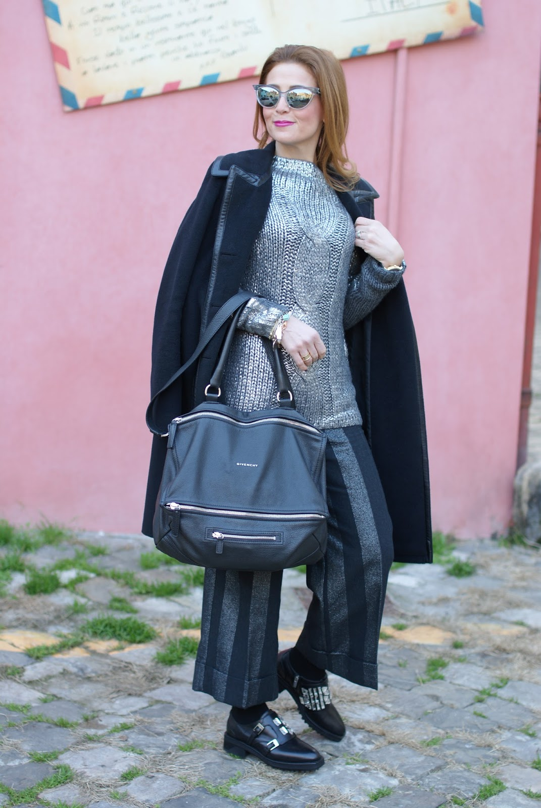 Balenciaga black coat with leather trim and silver accents on Fashion and Cookies fashion blog, fashion blogger style
