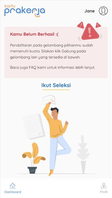 tidak lolos gelombang kartu prakerja; tomatalikuang.com