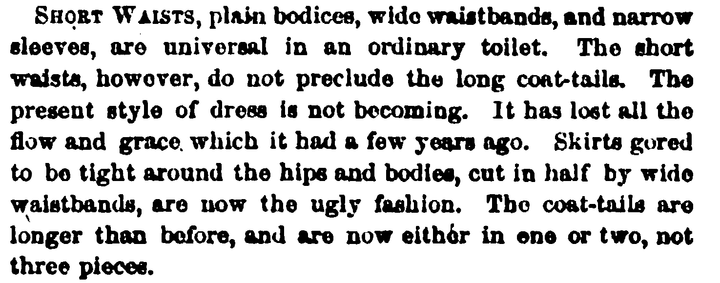 Fashion description from Peterson's, February 1865.
