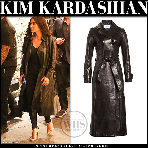 Kim Kardashian in black leather frame coat and sandals winter style january 24