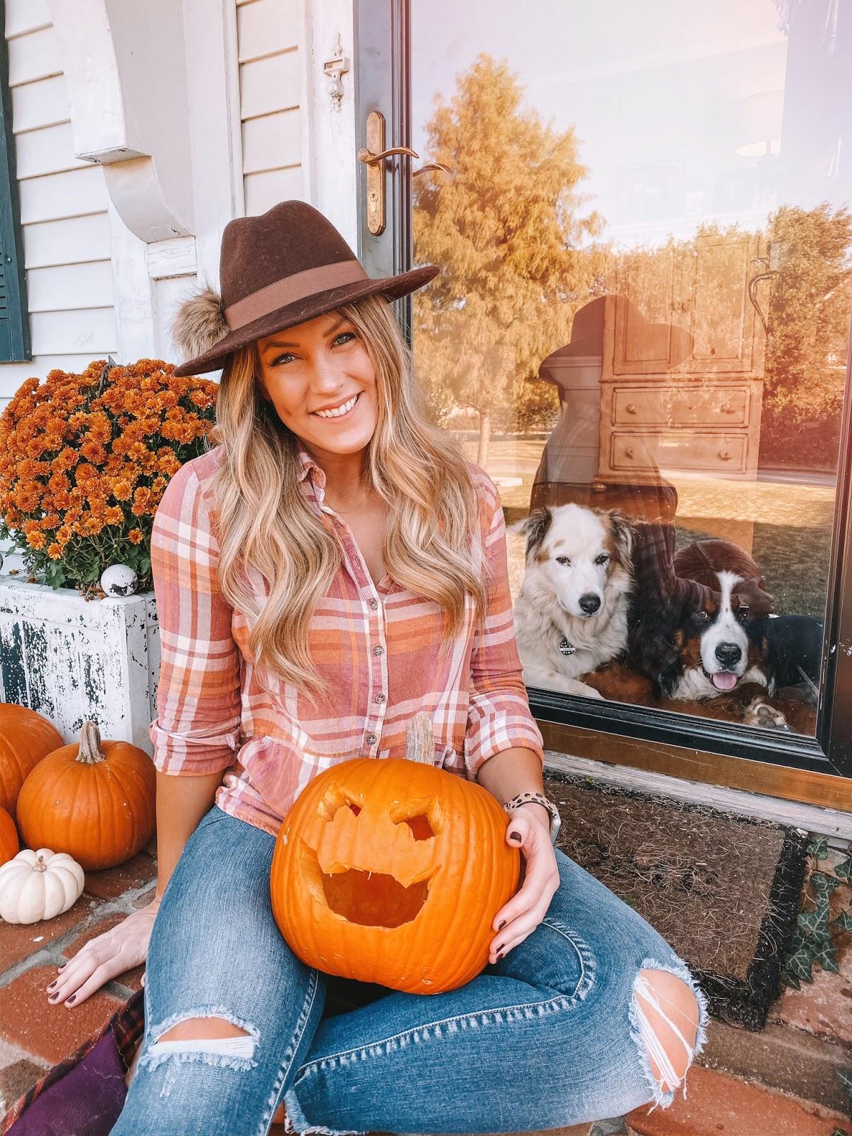 OKC blogger Amanda Martin shares a pom pom fedora and plaid shirt for fall outfit ideas