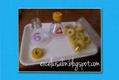 Numeración con botella plástica y su tapa