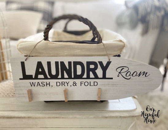 Laundry room wash dry fold sign clothes pins sign