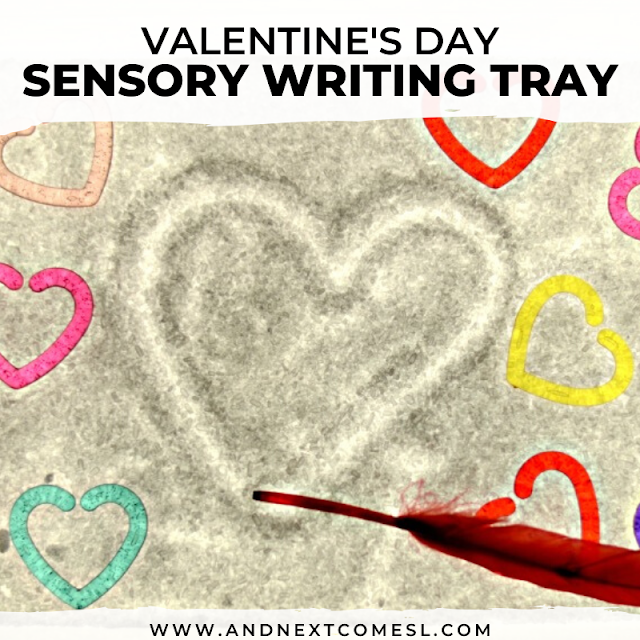 Valentine's salt writing tray and light table activity for kids