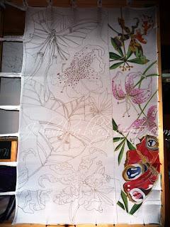 kupon sukienkowy, jedwab w malowane kwiaty i motyle