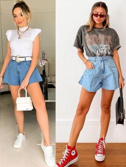 Tendência short jeans godê, Fran Cardoso, Viih Rocha