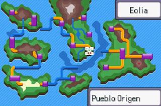 Pokemon Islas del Viento para GBA Mapa Region Eolia