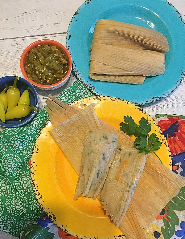 Green Chile Corn Tamales with Cheese