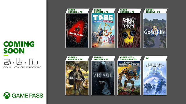xbox game pass ultimate 2021 back 4 blood destiny 2 beyond light the riftbreaker totally accurate battle simulator procession to calvary visage ring of pain good life android cloud xb1 xsx series x