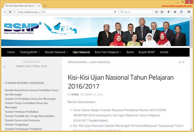 Kisi-Kisi Ujian Nasional SMP/SMA/SMK Sederajat dan Paket B & C TP 2016/2017